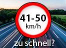 Überschreitung der Höchstgeschwindigkeit außerorts LKW um 41 - 50 Km/h