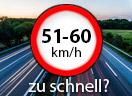 Überschreitung der Höchstgeschwindigkeit außerorts LKW um 51 - 60 Km/h